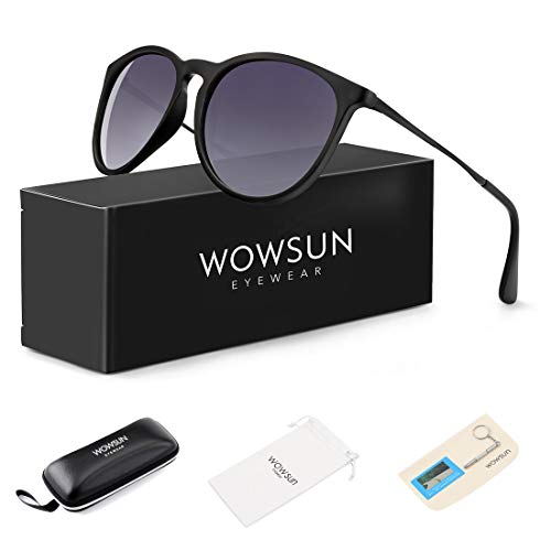 - WOWSUN Polarized Sunglasses for Women Vintage Retro Round Girls Black Frame Gradient Gray Lens Shades