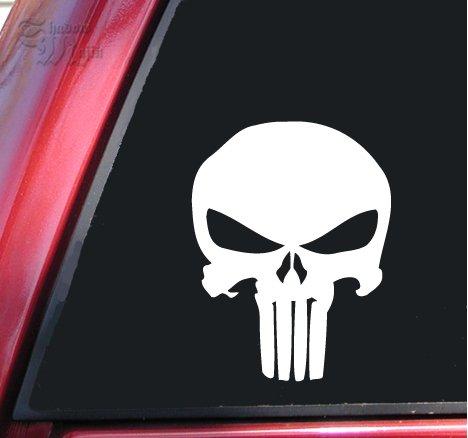 "Punisher 2K Skull Vinyl Decal Sticker (6"" X 4.6"", White)"
