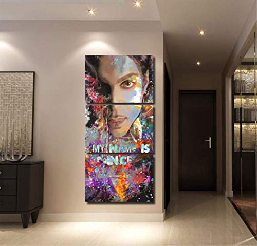 HY.bohu Canvas Painting Modular Art Pictures Canvas Hd Prints 3 Pieces Singer Prince Painting Wall Arwork Poster Home for Living Room Decoration Framed