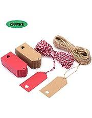 Etiquetas Regalo, EKKONG 200 Etiquetas de Regalo 9cm x 4cm con cuerda 60M - para bodas, cumpleaños y Navidad
