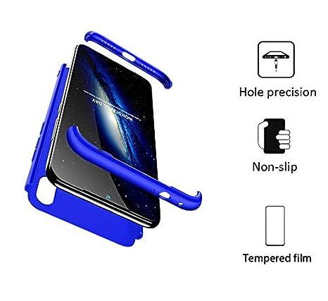 BESTCASESKIN Funda Xiaomi Redmi 7, Carcasa Móvil de Protección de 360° 3 en 1 Desmontable con HD Protector de Pantalla Carcasa Caso Case Cover para ...