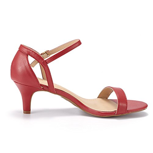 Dröm Par Womens Lexii Mode Stilettos Öppen Tå Pump Krängt Sandaler Röd Pu