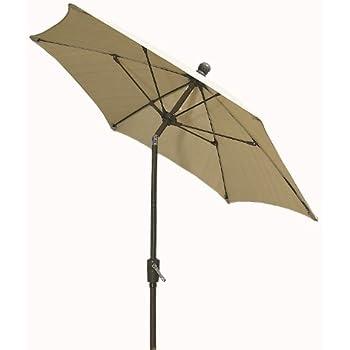FiberBuilt Umbrellas Patio Umbrella With Push Button Tilt, 9 Foot Beige  Canopy And Champagne