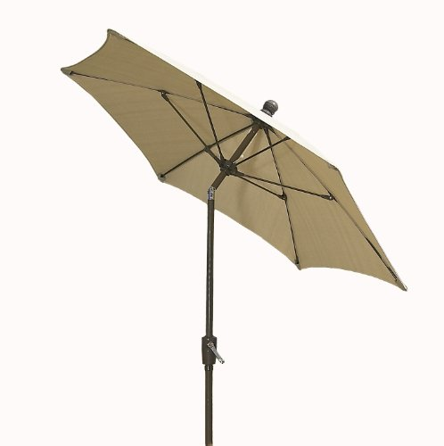 Cheap FiberBuilt Umbrellas Terrace Umbrella with Push-Button Tilt, 9 Foot Beige Canopy and Champagne Bronze Pole