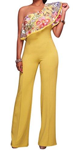 Trim Jumpsuit (Jefferson Women's Elegant One Shoulder Ruffles Bodycon Long Pants Jumpsuits(L, Yellow))