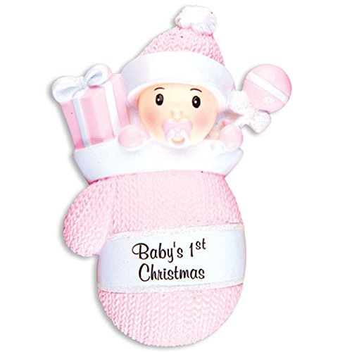 Personalized Baby's 1st Christmas in Mitten Ornament - Little Cute Girl in Pink Knit Hat Glove with Present Gifts Toys - First New Mom Shower Born Gift Nursery - Free Customization (Pink)