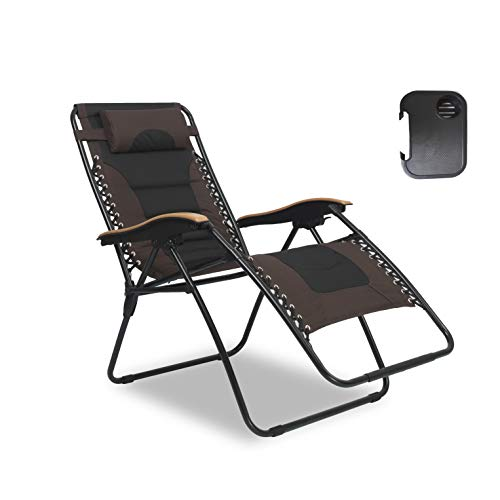 LUCKYBERRY Deluxe Oversized Padded Zero Gravity Chair XL Black Brown with Cup Holder Lounge Patio Chairs Outdoor Yard Beach Support 350lbs by LUCKYBERRY