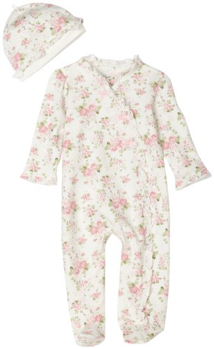 Little Me Cabbage Rose Footie, White Floral, Newborn