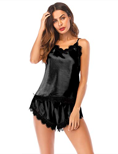 (Pajamas Women Night Clothes Satin Lingerie PJs Shorts Lace Camisole Lounge)