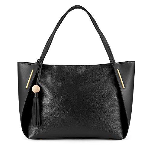 Kattee Leder Handtasche Damen Top Handgriff Quaste Design Umhängetasche für Office Lady(Schwarz) Schwarz ZVLCa