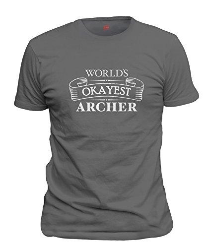shirtloco Men's Worlds Okayest Archer T-Shirt, Smoke Gray 5XL ()