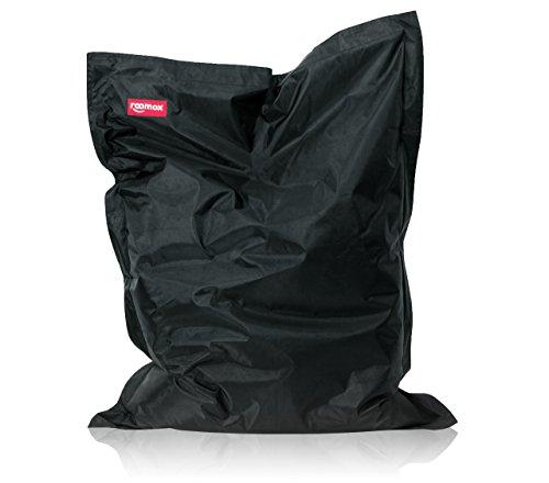 ROOMOX Original XXL Sitzsack für drinnen und draußen Stoff 160 x 120 x 30 cm, schwarz