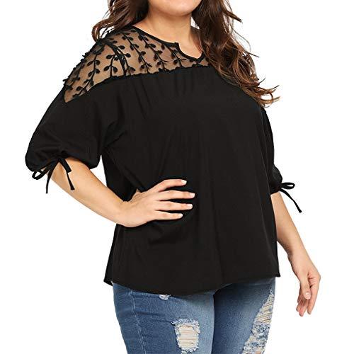 - Bravetoshop Fashion Women Plue Size Chiffon Ribbons Lantern Half Sleeve Mesh Perspective Top(Black,XL)