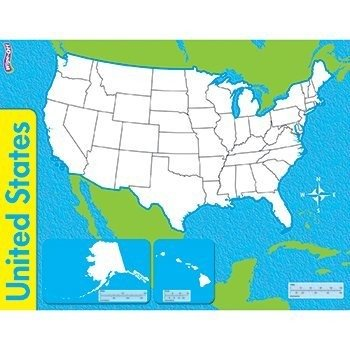 Amazoncom THE UNITED STATES WIPE OFF MAP Wall Maps Office - Dry Erase Blank Us Map