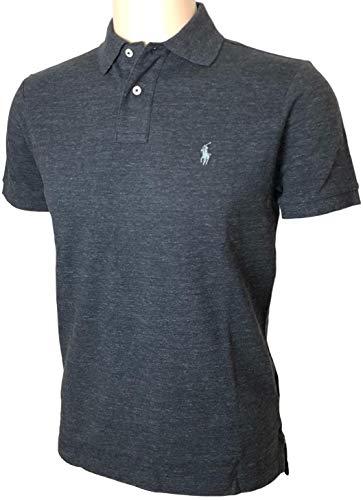 Polo Ralph Lauren Mens Custom Fit Mesh Polo Shirt (M, Charcoal Black) (Lauren By Fit Custom Ralph Polo)
