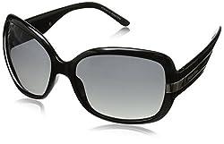 PolarOne Women's P1-4018 (C1) Polarized Oversized Sunglasses,Transparent Frame/Grey Lens,one size
