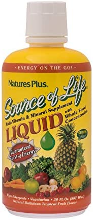 NaturesPlus Source of Life Liquid – 30 fl oz – Tropical Fruit Flavor – Wholefood Supplement, Energy Booster, Antioxidant – Vegetarian, Gluten-Free – 30 Servings