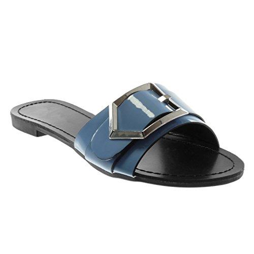 Angkorly Damen Schuhe Sandalen Mule - Slip-On - Schleife - Metallisch - Patent Blockabsatz 1.5 cm Blau