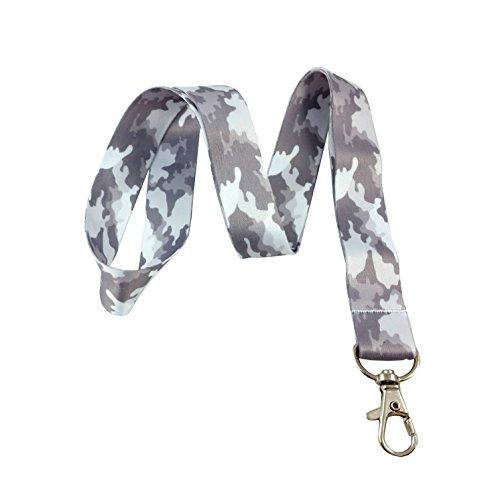 Gray Camouflage Camo Print Lanyard Key Chain Id Badge Holder