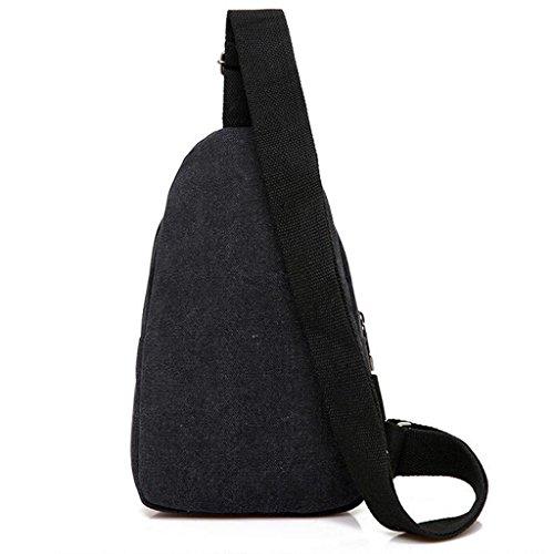 Umhängetasche Männer Brusttasche große Kapazität Outdoor Reise Messenger Casual Canvas multifunktionale wasserdichte Stoff Rucksack eine Schulter (Größe: 17 * 5 * 30cm) (Farbe : Schwarz) Schwarz