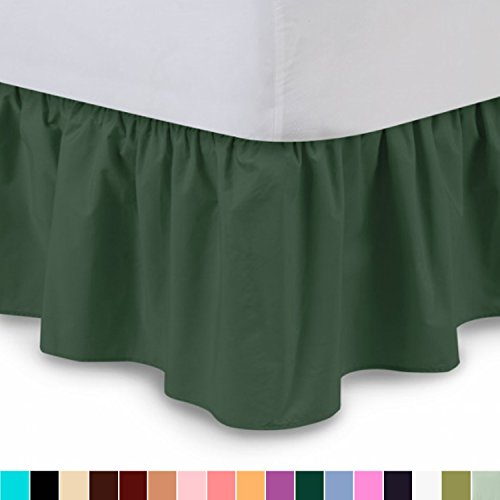 Full Dust Ruffle (Ruffled Bed Skirt (Full, Hunter) 14 Inch Drop Dust Ruffle with Platform, Wrinkle and Fade Resistant - by Harmony Lane (Available in all bed sizes and 16 colors))