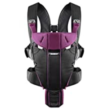 BABYBJORN Miracle Soft Cotton Mix Baby Carrier, Black/Purple by BABYBJORN