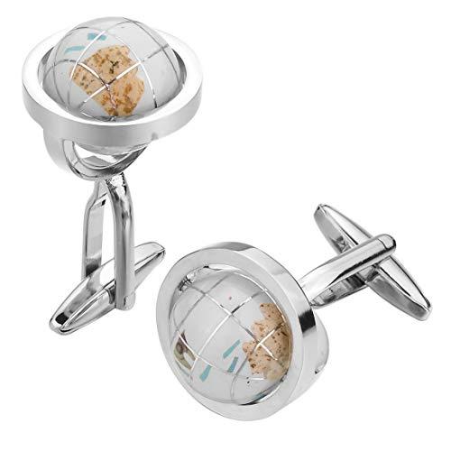 INBLUE Men's 2 PCS Rhodium Plated Cufflinks Silver Tone White Globe Shirt Wedding Business 1 Pair Set ()