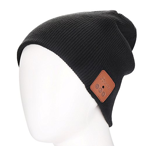 Bluetooth Beanie Hat 4.1 Wireless Smart Warm Music Cap Hat with HD Stereo 100% Soft Acrylic Hand Free for Running Walking Fishing Outdoor Sports Houseworks Unique Christmas Birthday Gifts (Black)
