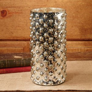 The Country House Collection Mercury Glass Hobnail Candle Hurricane
