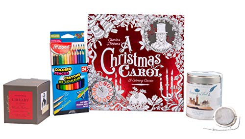(Always Moore Perfect Charles Dickens Classic Set - A Christmas Carol Coloring Book with Triangular Colored Pencils, Dickens Candle, and Dickens Tea with Small Tea Infuser Ball)