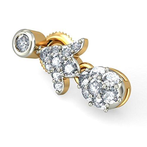 14K Or jaune 0,71CT TW White-diamond (IJ | SI) Pendants d'oreilles
