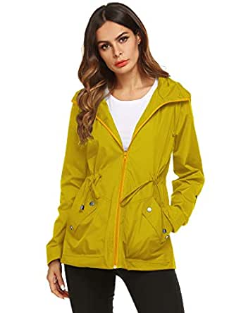 ZHENWEI Rain Jacket Women Waterproof with Lined Raincoat Outdoor Active Travel Hiking - Yellow - Small