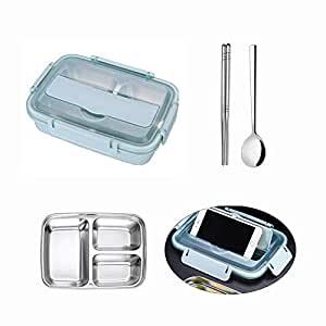 Umiwe Stainless Steel Bento Box for Kids Adults, 3-Compartment Insulated Lunch Box with Spoon and Chopsticks, Leakproof BPA-Free Food Storage Container for School, Office, Picnics, and Travel