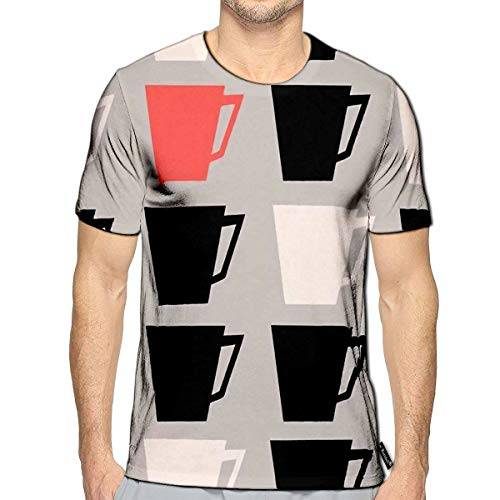 3D Printed T-Shirts Mid Century Style Repeating with Coffee Cups Short Sleeve to (Best Foods To Fight Wrinkles)