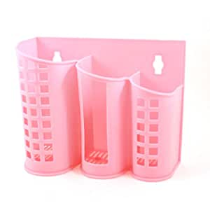 Kitchen 3 Compartments Plastic Perforated Chopsticks Case Pink