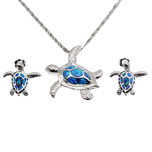 Hermosa Jewelry Sets Australian Opal Blue Sapphire Necklace Earrings Christmas Gifts - Tortoise Australia For Sale