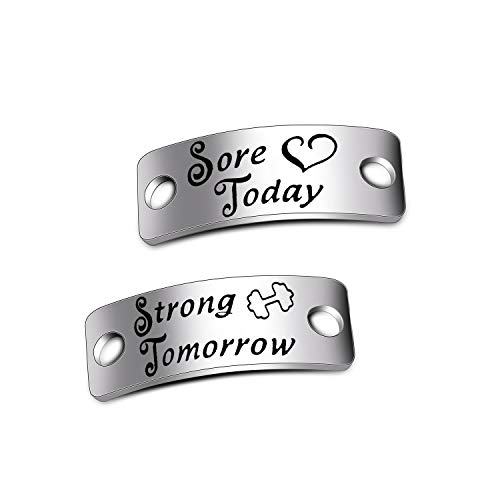 (WUSUANED Sore Today Strong Tomorrow Shoe Tags Gym Jewelry Inspirational Fitness Gift for Runners (Sore Today Strong Tomorrow Shoe Tags))