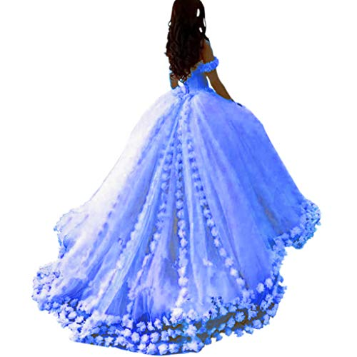 Mauwey Women's 2019 New Fluffy Tulle Ball Gown Quinceanera Dresses Evening Prom Dresses Formal Party Gown with Flowers -