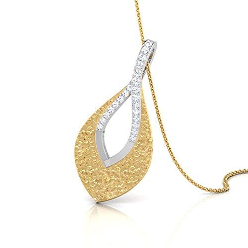 14K Or blanc 0.09CT TW Round-cut-diamond (IJ | SI) Pendentif