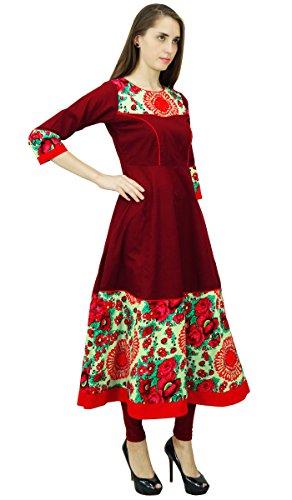 Phagun algodón estampado de flores Diseñador Kurta Mujeres top túnica de Anarkali Kurti Granate y azul