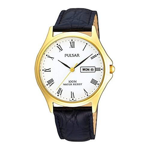 Pulsar Mens Leather Strap Watch With Gold Case PXF292X1