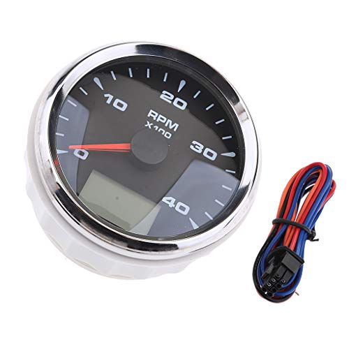 Baosity 85mm 0-4000 RPM Electrical Tachometer Gauge LED Indication Odometer Waterproof - Black 1 by Baosity