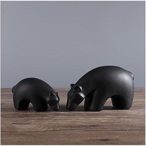 NWFashion Ceramic Animal Figurines Home Decoration Furniture Desktop Display (Black Bear) -