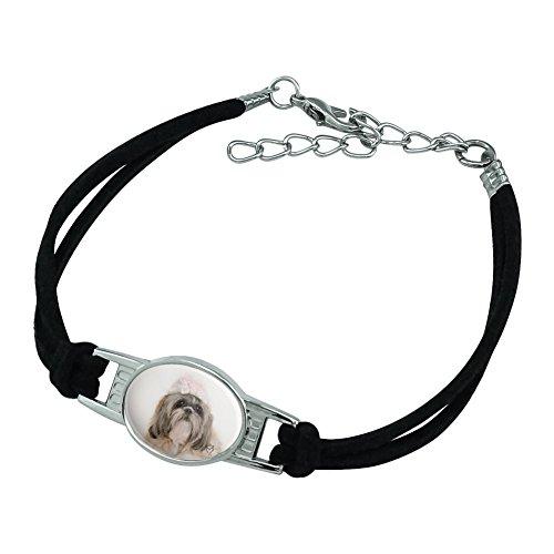 Graphics and More Shih Tzu Dog Precious Knit Hat Novelty Suede Leather Metal Bracelet - Black ()
