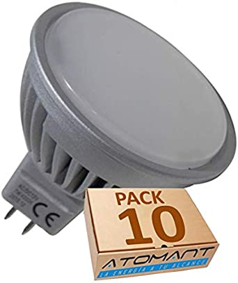 Pack 10x MR16 a 12V. 7w. Color Blanco Calido (3000K). (Transformador 12v NO incluido).