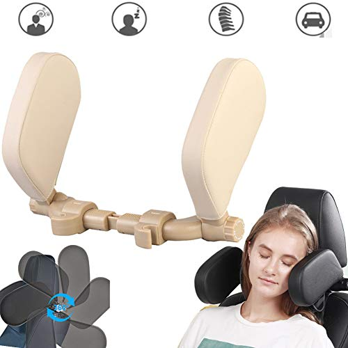 Sleeping Cushion U-Shaped Car Seat Headrest Pillow 360 Degree Yoruii Adjustable Support Neck Pillow Head Protection Cervical Spine Width Telescopic Version ABS Material Universal for Travel Beige