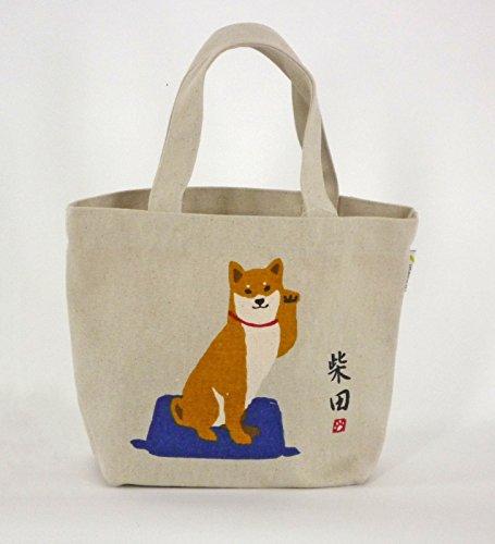 Mini Borse Tote/Mini sacchetto di tote / tasca interna / Shiba-cane messo la mano naturale Narumi Narumi