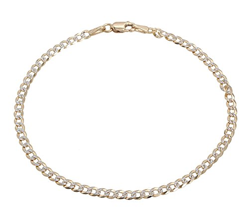 18K Solid Yellow Gold with White Pave Diamond Cut 3MM Cuban Chain Bracelet- 8 inch by Pori Jewelers
