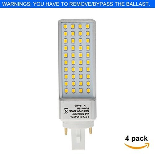 HERO-LED GX24-40S-4P-DW Rotatable PL-C Lamp GX24Q 4-Pin LED CFL/Compact Fluorescent Lamp, 8W, 18W Equal, Daylight White 5000K, 4-Pack (Remove/bypass the Ballast) - Wall 18w Cfl
