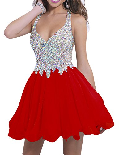 Lmbridal Womens Beaded Sweet 16 Homecoming Party Dress Short A